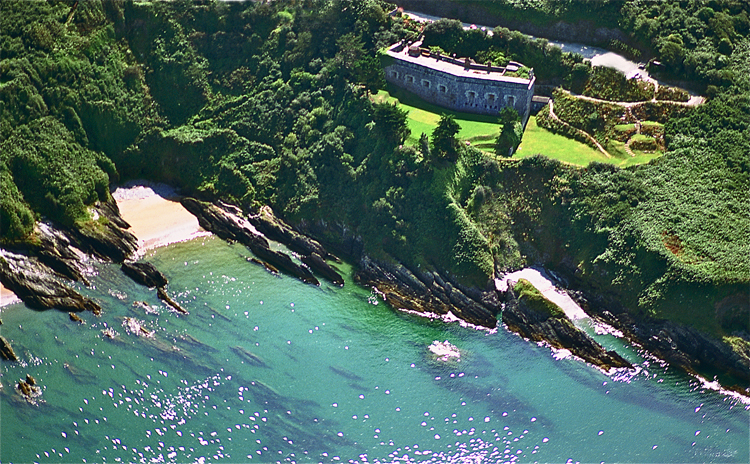 An aerial view of Polhawn Fort